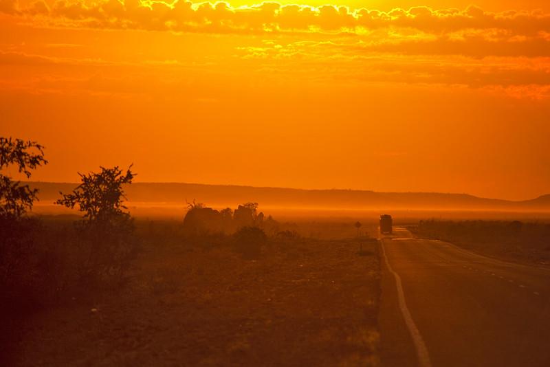 Early morning drive, North West Coastal Highway, Western Australia, Australia