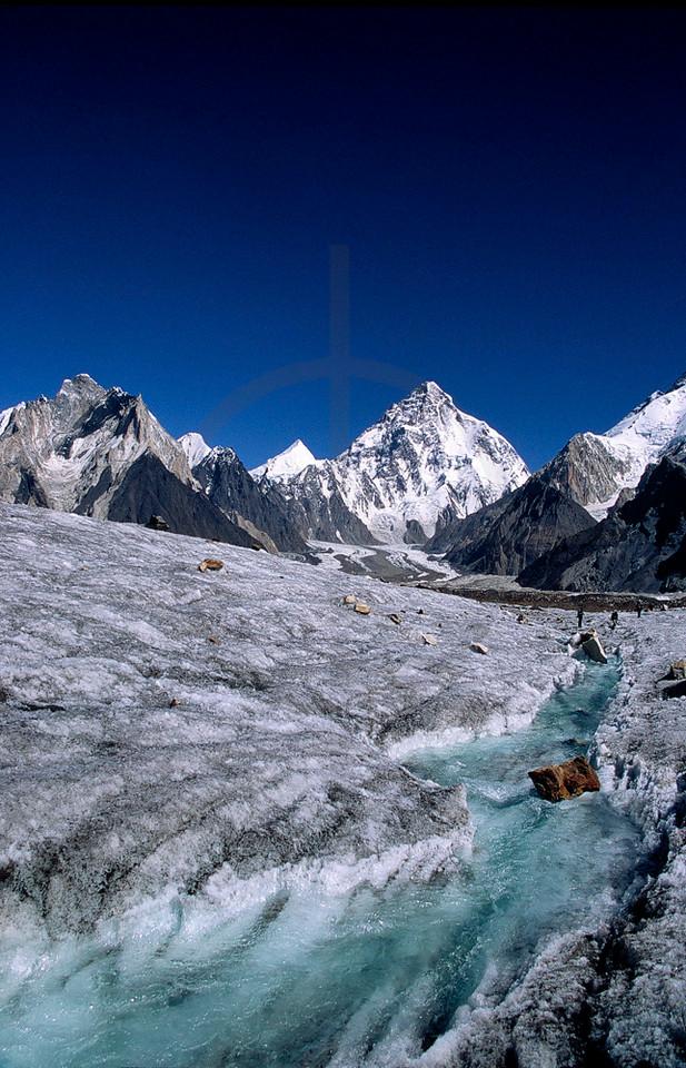 View of K2 and Angel Peak from Vigne Glacier, Karakoram, Baltistan, Pakistan