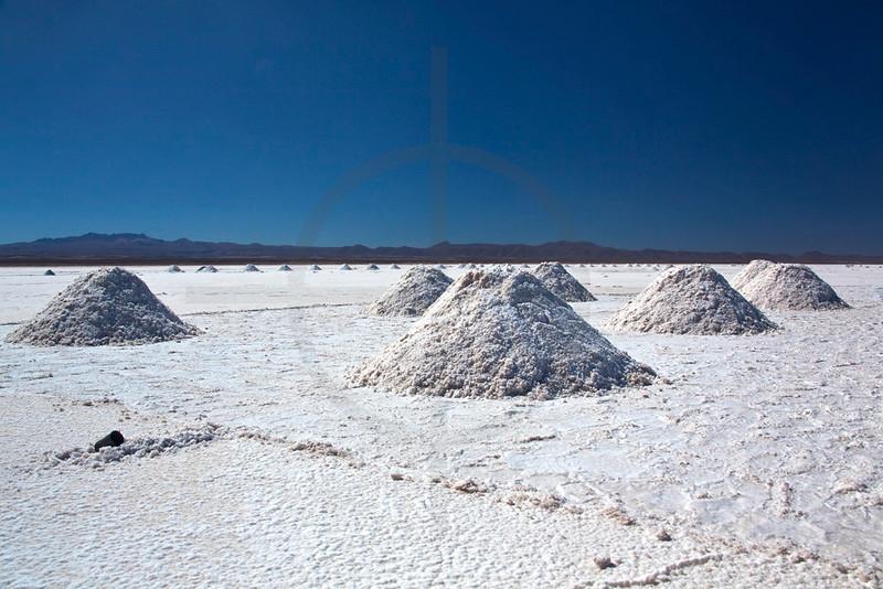 Salt extraction, Salar de Uyuni, Bolivia