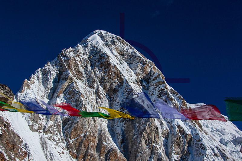Pumori and prayer flags,  as seen from Kala Patthar, Nepal
