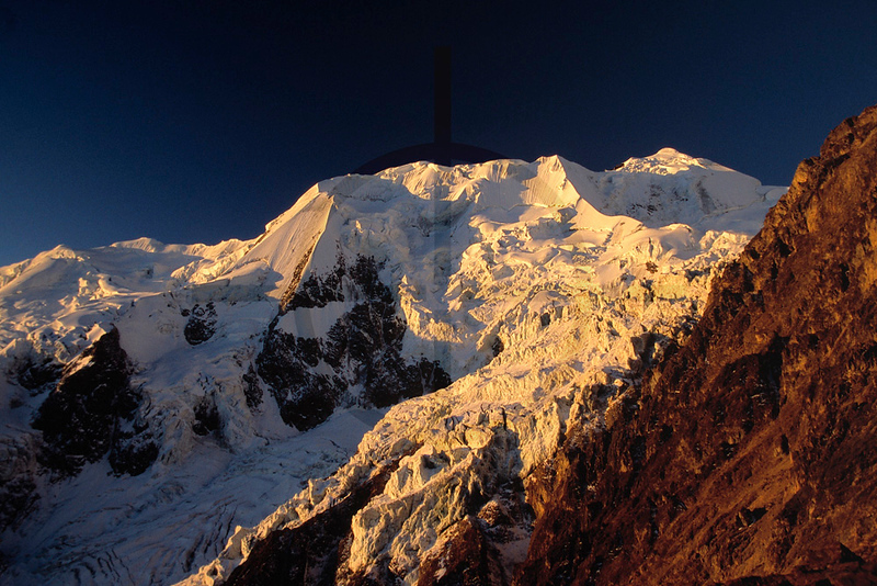 Illimani in late afternoon light as seen from Illimani high camp, Cordillera Real, Bolivia