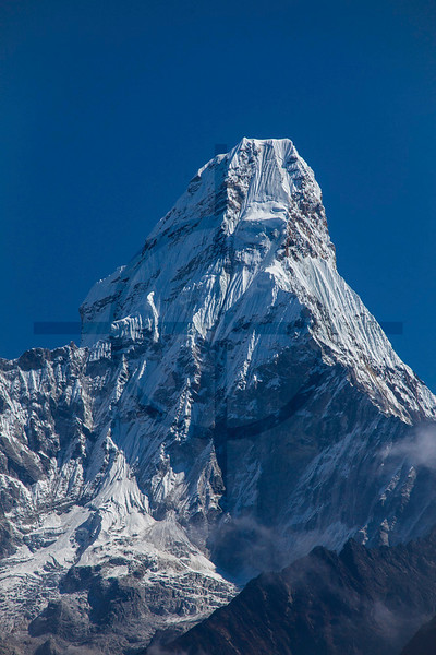 Top of Ama Dablam as seen from the ridge north of Namche Bazaar, Solukhumbu District, Nepal