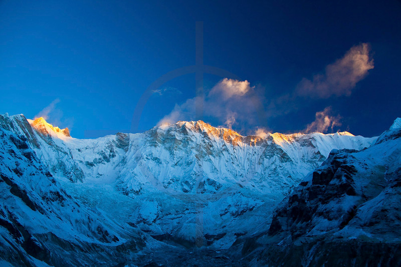 First sunlight on Annapurna I as seen from Annapurna Base Camp, Annapurna Sanctuary, Nepal