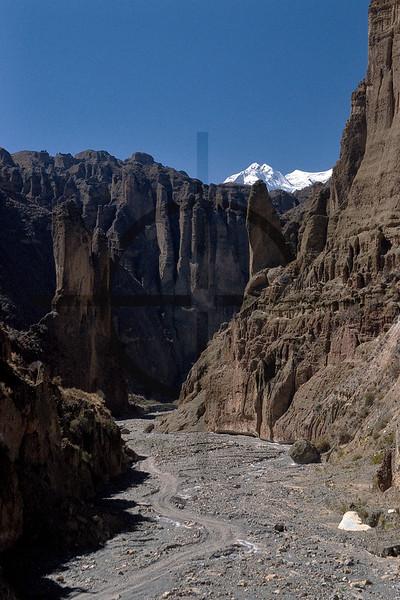 Palca Canyon and Illimani mountain, vicinity of La Paz, Bolivia
