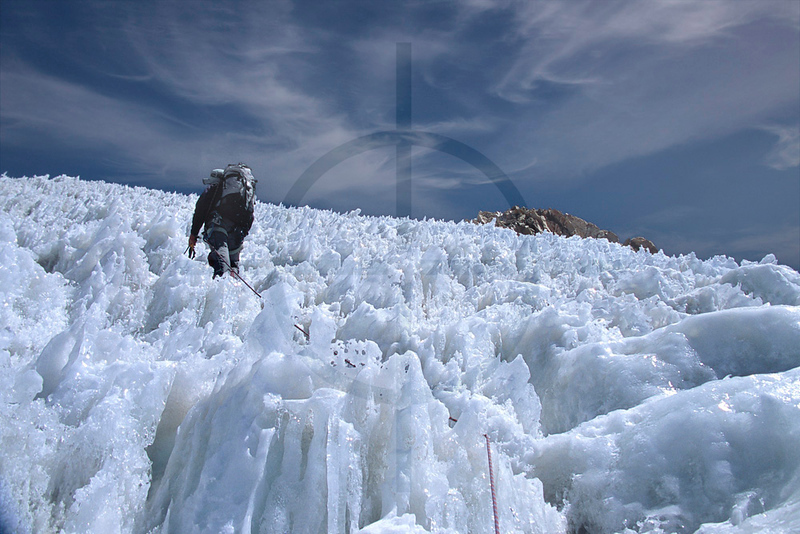 Making your way through penitentes, upper reaches of Huayna Potosí, Cordillera Real, Bolivia