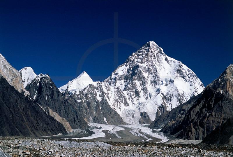 View of the K2 and Angel Peak from the Vigne Glacier, Karakoram Range, Baltistan, Pakistan