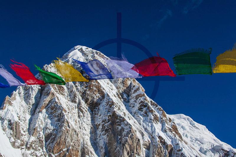 Prayer flags and Pumori, as seen from Kala Pathhar, Solukhumbu District, Nepal