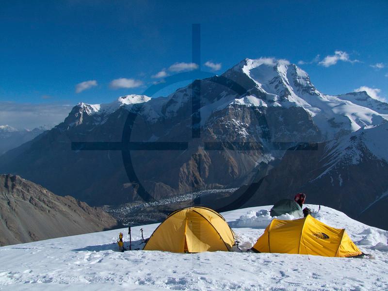 View of Korzhenevskaya as seen from a camp at 5800 m on Borodkin's Rib, Pik Somoni, Pamir Range, Tajikstan