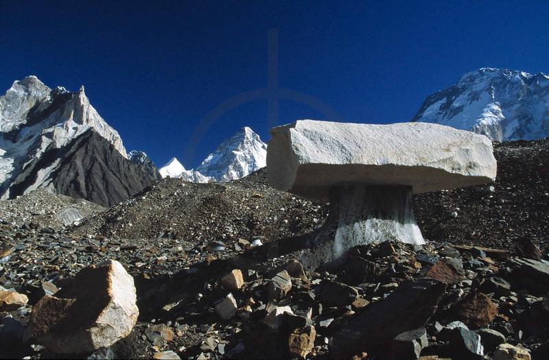 Glacier table on the Upper Baltoro Glacier with Broad Peak, K2 and Angel Sar in the background, Karakoram Range, Baltistan. Pakistan