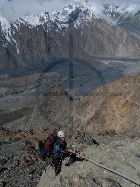 Climber on the way to Camp I, Southern Crest Route, Pik Korzhenevskaya, Pamir, Tajikistan