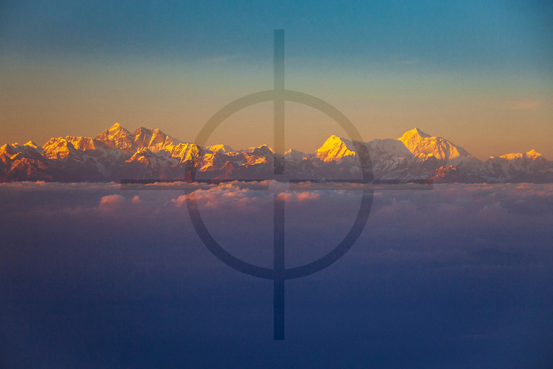 Himalaya at sunset, seen from a flight from Biratnagar to Kathmandu, Nepal