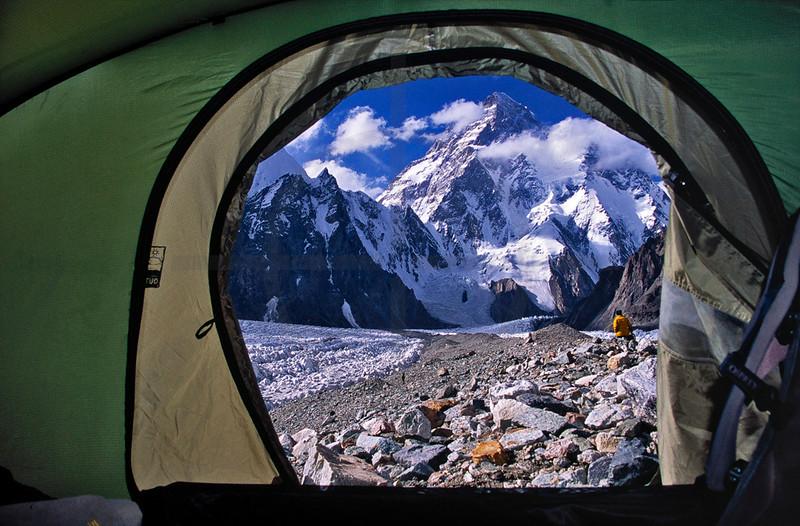 Tent view of K2 from Broad Peak Base Camp, Karakoram Range, Baltistan, Pakistan