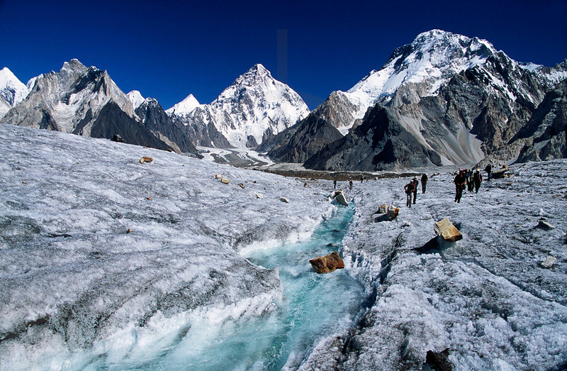 View of Broad Peak, K2 and Angel Peak from Vigne Glacier, Karakoram, Baltistan, Pakistan