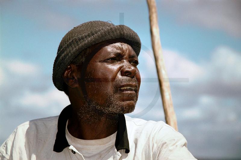 Skipper on a dhow, Bazaruto Archipelago, Mozambique