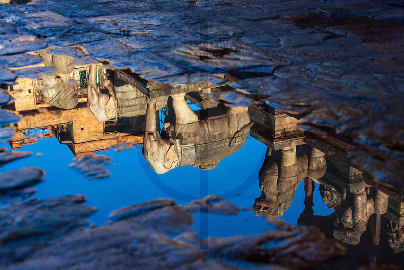 Facade of the Nyatapola Temple reflected in a pool, Bhaktapur, Nepal
