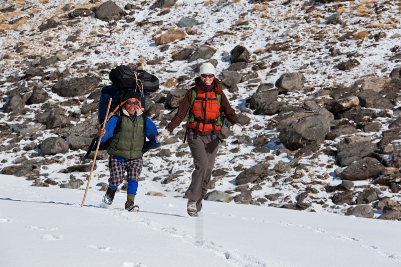 The joys of fresh snow, Annapurna Sanctuary, Nepal