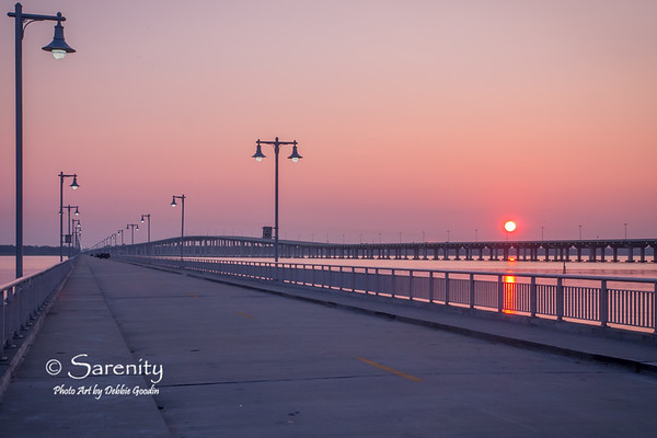 Drive up Pier, Hwy 90 Bridge at Sunset