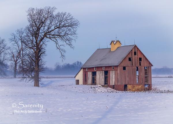 Winter's Patchwork Barn