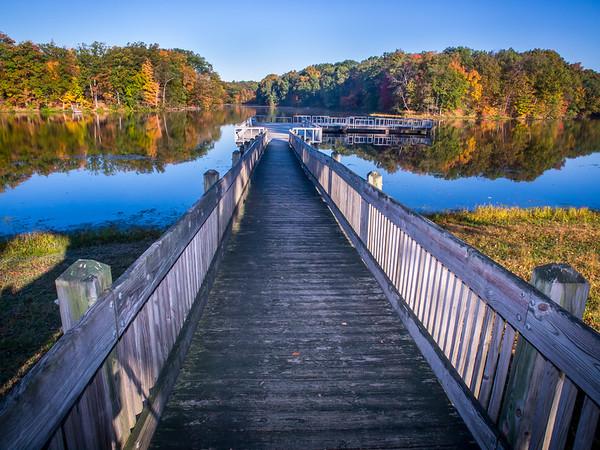 Pier to Autumn Colors, Shakamak State Park, Jasonville, IN, Green/Sullivan/Clay Counties