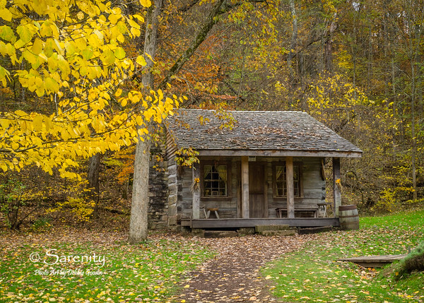 Fall colors surround the Garden House in Spring Mill State Park!