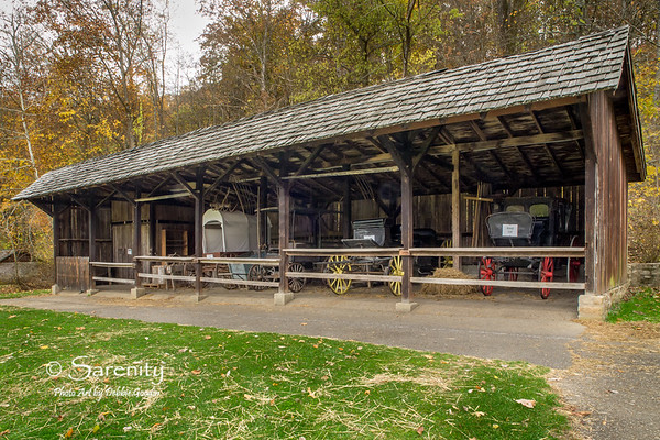 I love the old wagons inside the Carriage House in Spring Mill State Park!