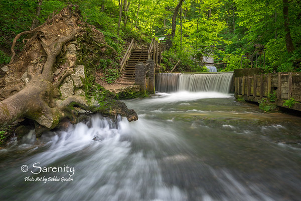 This image I created while at Spring Mill State Park showcases the dam which collects spring water from Hammer Cave. The water then flows through the sluice gates and into the wooden flume on the right of the picture that is attached to the mill pond. It is then gravity fed through the flume and ultimately hits the over-shot wooden waterwheel on the old gristmill. The energy from the large water wheel then powers the grinding stones for cornmeal inside the mill.<br /> When there is excess water from the springs, it flows over the dam creating a beautiful waterfall as seen here.<br /> While I like the waterfall and the flume, one of the main elements that fascinated me in this scene was the fallen tree in the foreground. I love the natural sculpture effect of the rocks and roots from the tree, and the way the water runs through them creating such interesting water movement downstream.