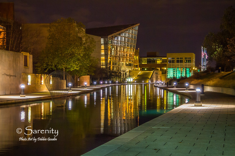 Canal Walk at Night, Indiana State Museum and Congressional Medal of Honor Memorial