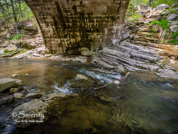 I love this amazing Rock Shelf and water area under a bridge at McCormick's Creek State Park!