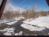 Winter view of the Big Raccoon Creek as seen through the window of the Bridgeton Bridge.