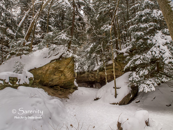 The winter pathway that runs by the fascinating Wedge Rock!