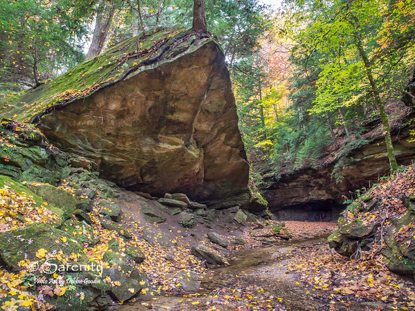 A horizontal image captured of Wedge Rock surrounded by Autumn Color!