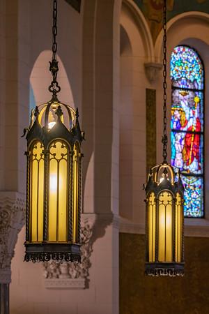 Beautiful light fixtures inside St. Benedict Catholic Church, Terre Haute, IN