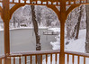 A Winter scene viewed from under the Association of Realtors Gazebo!