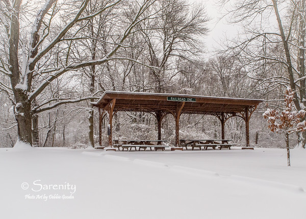 The Railroad One Shelter surrounded by a heavy blanket of snow!