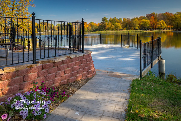 Deck overlooking Ruble Lake