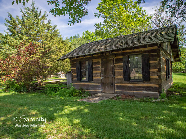 A log cabin located inside the Pioneer Village at Fowler Park in Vigo County, IN!