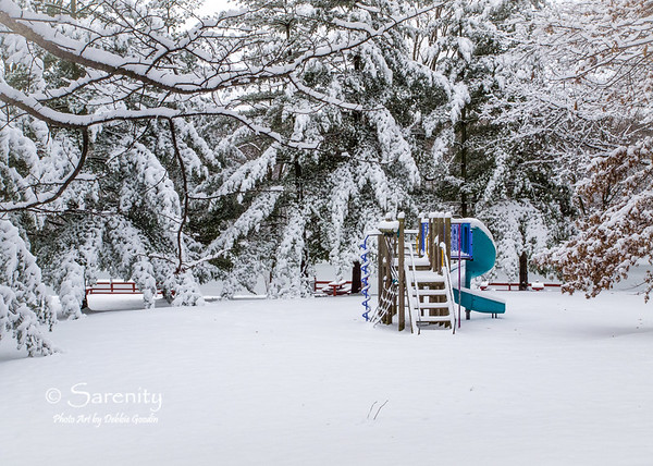 A heavy snowfall left a white scene around the play equipment at Hawthorn Park!