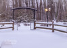 The entrance to the Smith Memorial Labyrinth looks beautiful surrounded by a heavy snowfall!