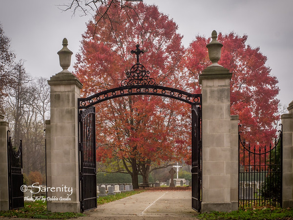 The entrance to the cemetary on Campus