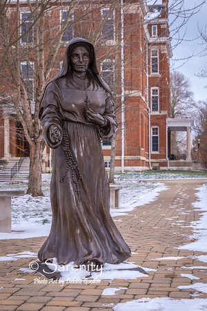 St. Mother Theodore Geurin Statue - Winter, By Teresa Clark