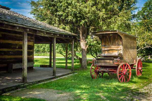 An old wagon located in the Pioneer Village at Fowler Park in Vigo County, IN!