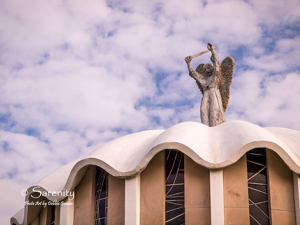 This statue of St. Michael sits atop the Day Chapel.