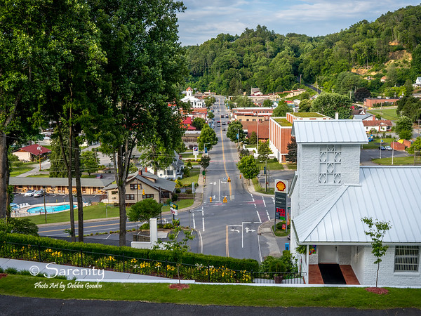The view overlooking the downtown area of Bryson City!