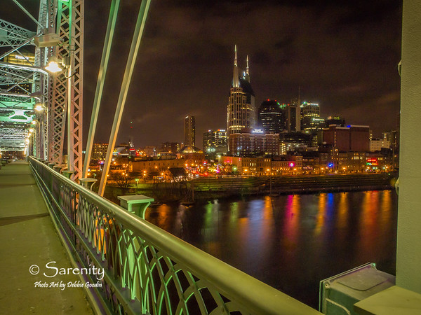 Nighttime in Color, Pedestrian Bridge, Downtown Nashville TN