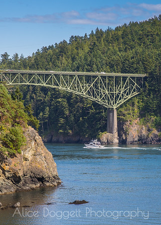 Boat Cruising Under Deception Pass Bridge, Whidbey Island, WA