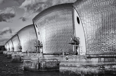 The Thames Barrier, protecting c.45 square miles of London from flood