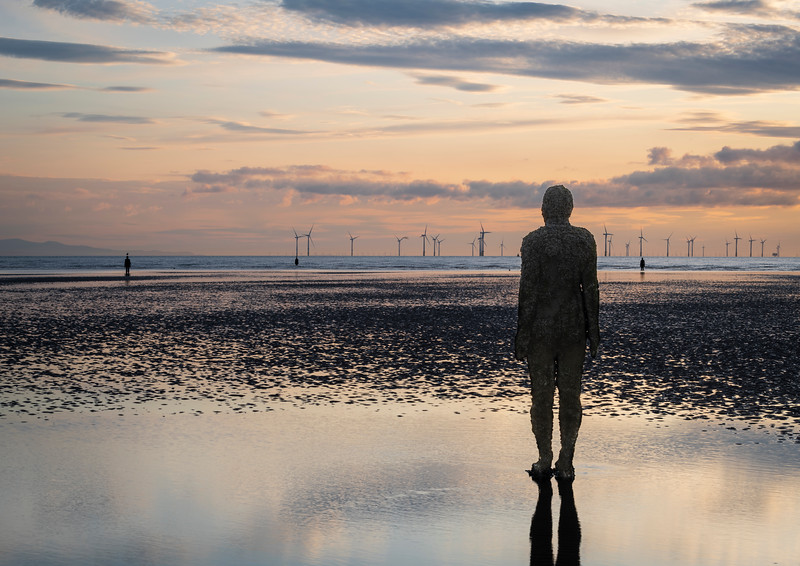'Another Place': sculptures by Antony Gormley at Crosby, Merseyside