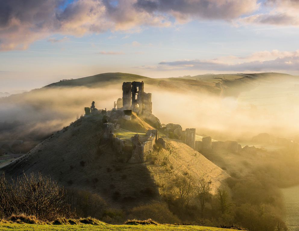 Corfe castle, Dorset at dawn