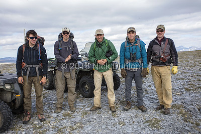 From left to right, biologists Devin Johnson, Michael Henderson and David Anderson of the Peregrine Fund and volunteers Xavier Cardoza and John Earthman. The black spots are Alaska's State Bird, the mosquito!