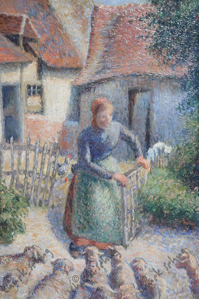 BERGERE RENTRANT DES MOUTONS - PISSARO, 1886 - STOLEN BY THE NAZIS, RECOVERED AFTER THE WAR AND PURCHASED BY AN OKLAHOMA BUYER, THEN RETUNED TO ITS OWNER IN PARIS